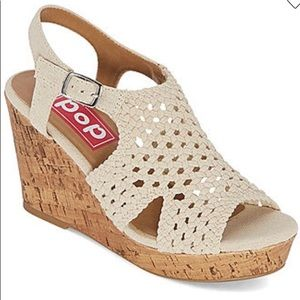 Pop Womens Lilly Wedge Sandals 7.5 Natural